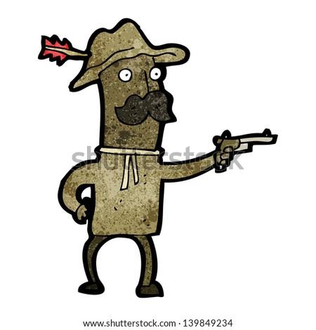 cartoon cowboy - stock photo