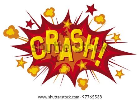 cartoon - crash (comic book element) - stock photo
