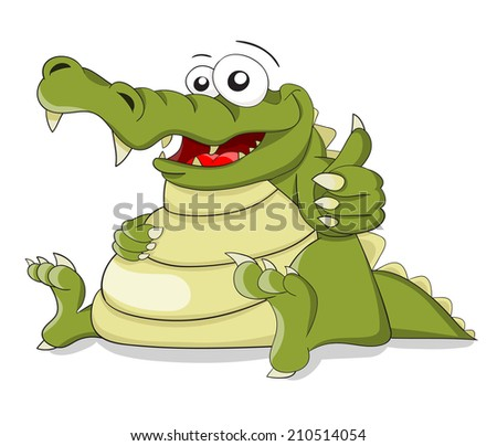 "Cartoon crocodile with fingers combination ""OK"""