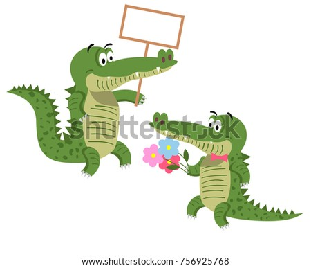 Cartoon crocodiles with empty signboard and with bouquet of flowers in tie bow isolated on white background. Cute big reptiles  illustration. Drawn friendly crocs with eyebrows in flat style