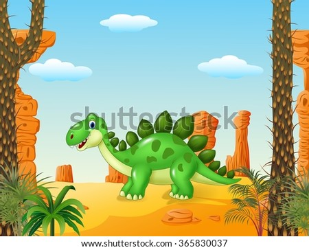 Cartoon cute dinoasur with the desert background