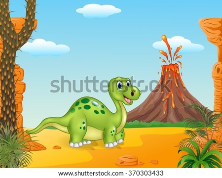 Cartoon cute dinosaur with the prehistoric background