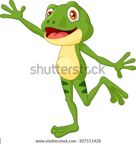 Cartoon cute frog waving hand with a face full of happy