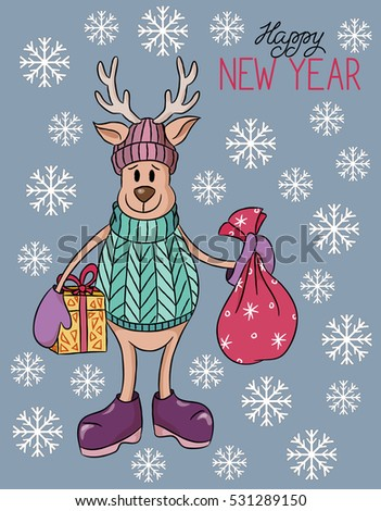 Cartoon cute hand drawn Christmas deer with presents illustration.