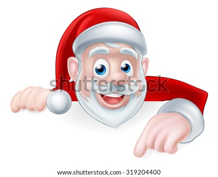 Cartoon cute Santa Claus Christmas illustration with Santa pointing down at a sign or message - stock photo