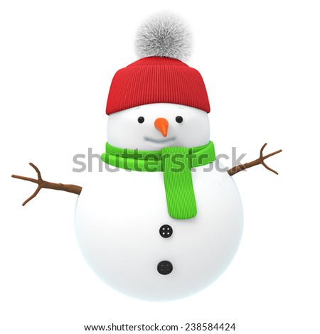 Cartoon cute snowman in red hat and green scarf isolated on white background - stock photo