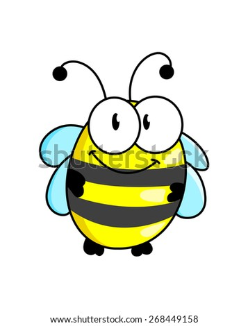 Cartoon cute striped little bumble bee or honey bee with a happy smile isolated on white - stock photo