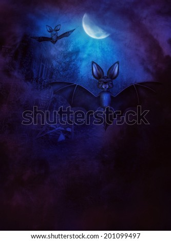 Cartoon 3d bats flying in the night with a moon in the background.