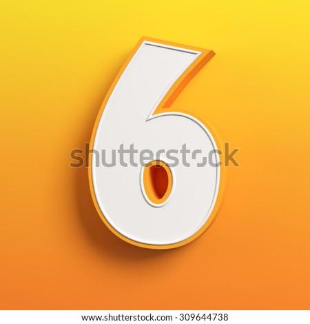 cartoon 3d font letter 6 - stock photo
