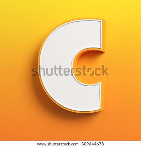 cartoon 3d font letter C - stock photo