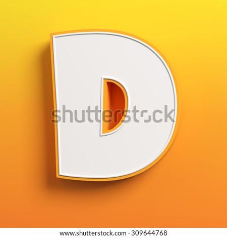 cartoon 3d font letter D - stock photo