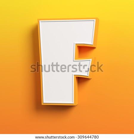 cartoon 3d font letter F - stock photo