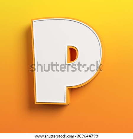 cartoon 3d font letter P - stock photo