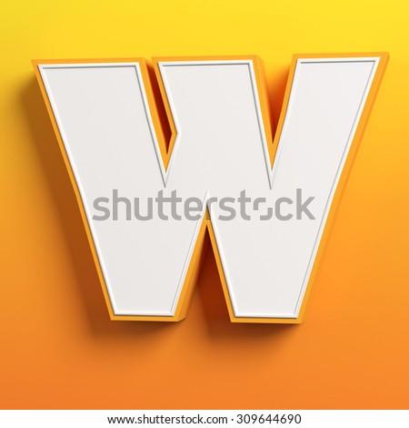 cartoon 3d font letter W - stock photo
