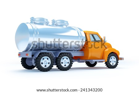 cartoon 3d tanker truck isolated on white. Back view - stock photo
