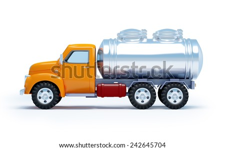 cartoon 3d tanker truck isolated on white. Side view. - stock photo