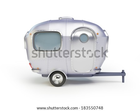 Cartoon 3d trailer in a retro style on a white background. - stock photo