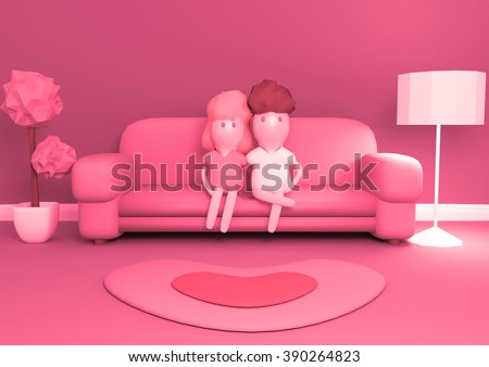 Cartoon 3 D Young Couple Sitting On Stock Illustration 390264823 ...