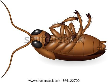 Cartoon dead cockroach - stock photo