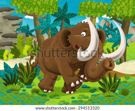 Cartoon dinosaur - illustration for the children - stock photo