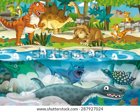Cartoon dinosaur land and sea - illustration for the children - stock photo