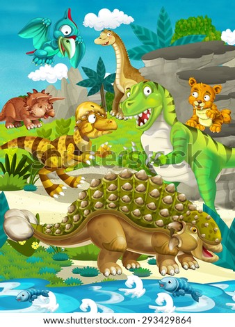 Cartoon dinosaur land - illustration for the children - stock photo