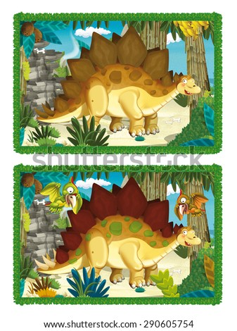 Cartoon dinosaurs - matching game - finding differences - illustration for the children - stock photo