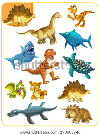 Cartoon dinosaurs - matching game - illustration for the children - stock photo