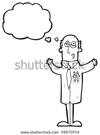 cartoon doctor with thought bubble - stock photo