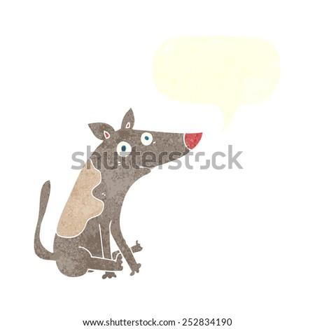 cartoon dog with speech bubble - stock photo