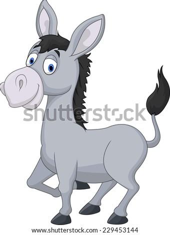 Cartoon donkey - stock photo