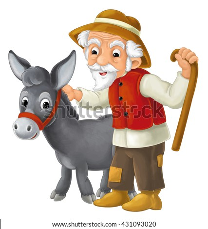 Cartoon donkey standing and watching with his owner - cute animal - isolated - illustration for children - stock photo
