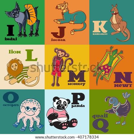 Cartoon doodle animals: indri, jaguar, kangaroo, lion, monkey, newt, octopus, panda, quail. Part of children's alphabet, letters i, j, k, l, m, n, o, p, q.  - stock photo