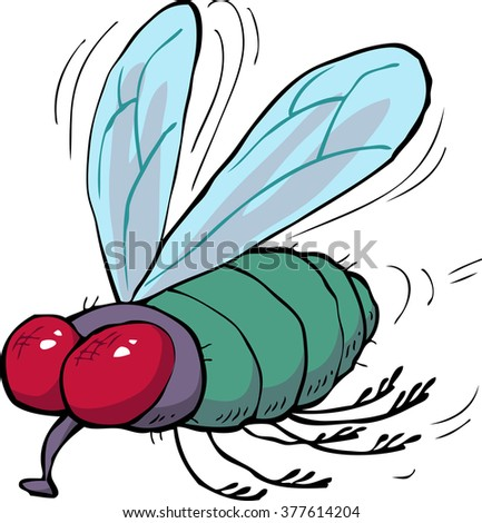 Cartoon doodle green fly on a white background raster version - stock photo