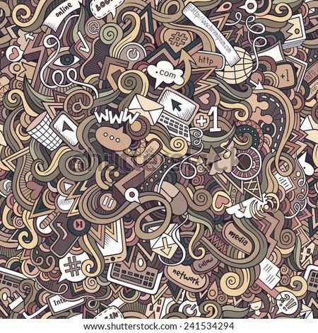 Cartoon doodles hand drawn internet social media seamless pattern - stock photo