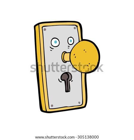 cartoon door knob - stock photo