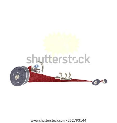 cartoon drag racer with speech bubble - stock photo