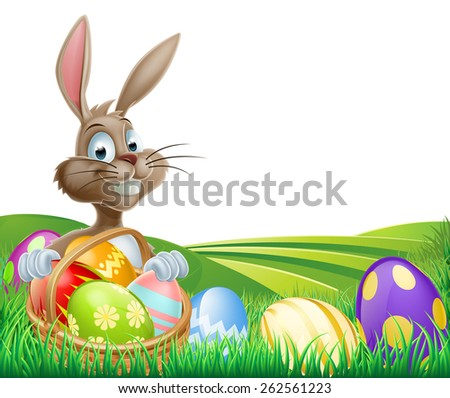 Cartoon Easter Bunny with a hamper of chocolate Easter eggs in a field with rolling hills