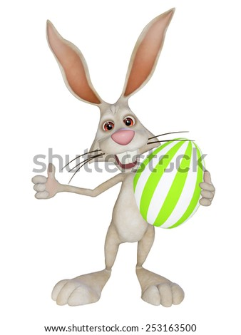 cartoon Easter  bunny with Easter eggs - stock photo