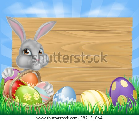 Cartoon Easter wooden sign. White Easter bunny with a basket full of decorated chocolate Easter eggs