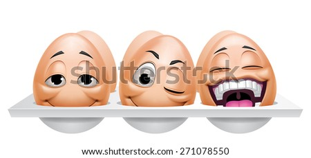 Cartoon eggs characters - stock photo
