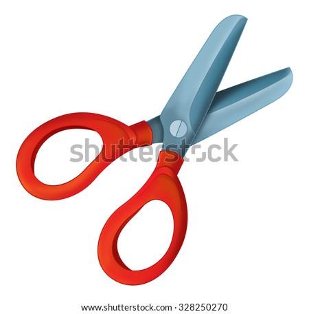 Cartoon element - scissors - illustration for the children - stock photo
