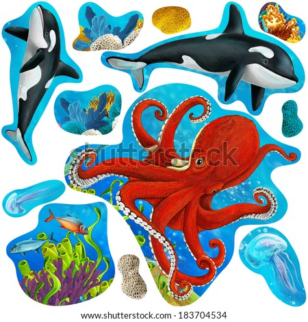 Cartoon elements of coral reef and fairy tales - illustration for the children - stock photo