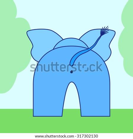 cartoon elephant back - stock photo