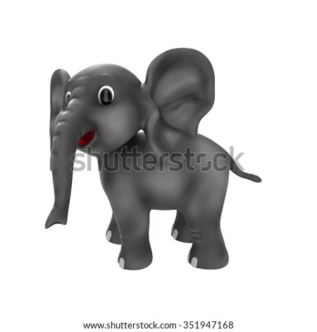 Cartoon Elephant Isolated on White Background