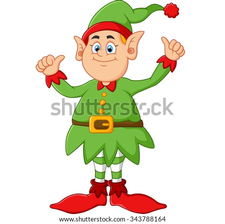 cartoon elf giving two thumbs up - stock photo