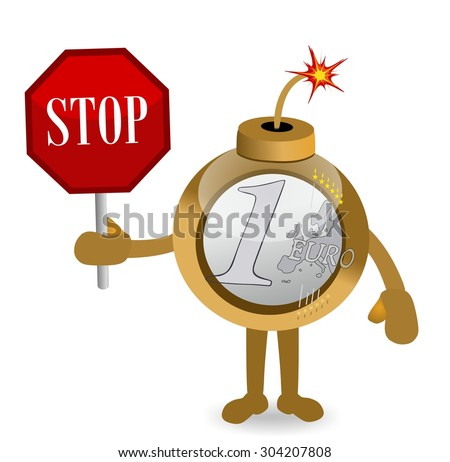 cartoon euro coin bomb holding a stop sign - stock photo