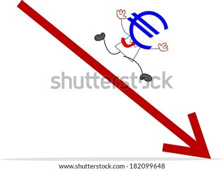 Cartoon euro money head businessman running away from statistic arrow. - stock photo