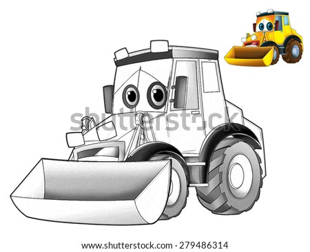 Cartoon excavator - caricature - coloring page - illustration for the children - stock photo