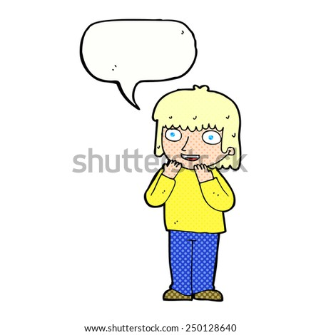 cartoon excited person with speech bubble - stock photo